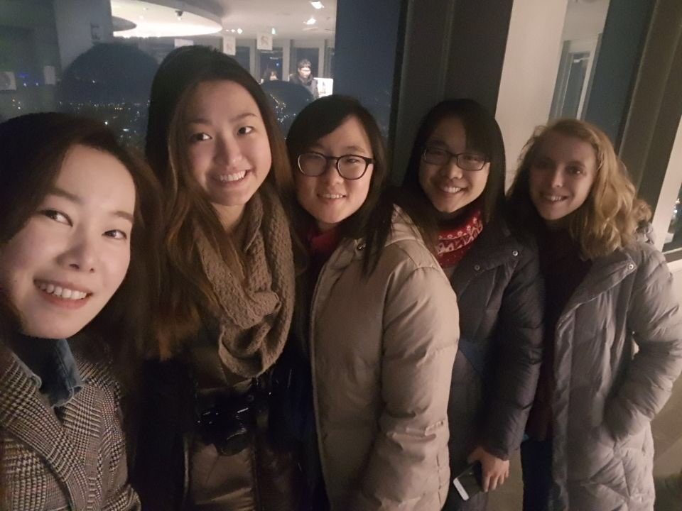 Top of the Namsan Tower with the team and Shine's friend